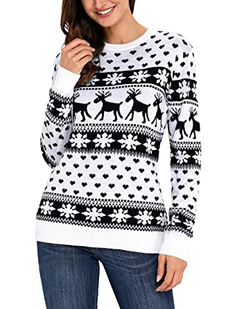 HOTAPEI Womens Sweaters Ugly Christmas Reindeer Snowflakes Sweater Pullover  Black Small 2002557fc