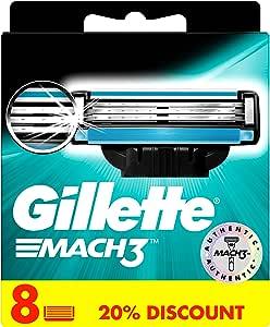 Gillette Mach3 men's razor blade refills, 8 count