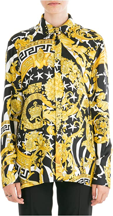 Versace Mujer Camisa Savage barocco Giallo 42 EU: Amazon.es: Ropa y accesorios