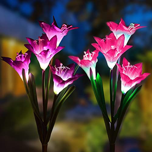 Solar Garden Outdoor Lights, 2Packs Solar Flower Lights Outdoor Color Changing Decorative Landscape Lawn Yard Stake Patio Lily Lights Solar Powered Pink Purple