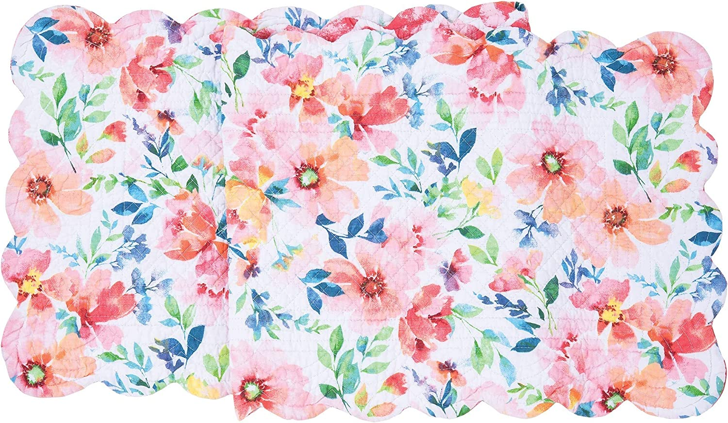 C&F Home Nicole Floral Table Cotton Runner Runner Coral