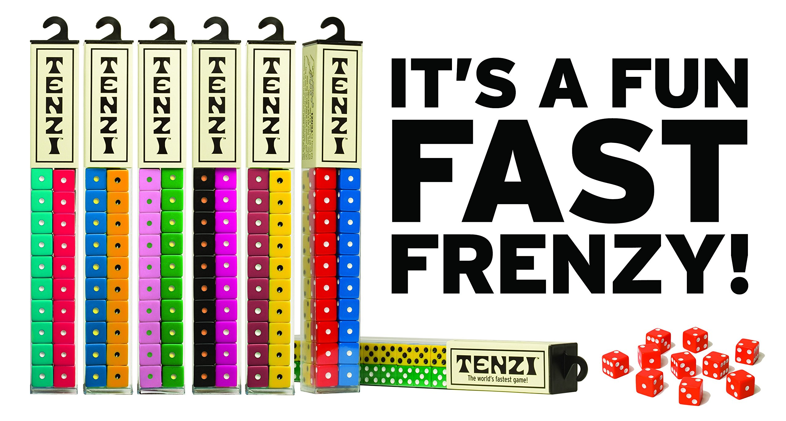 Tenzi Dice Party Game - A Fun, Fast Frenzy For All Ages - 4 Sets of 10 Colored Dice (Colors May Vary)