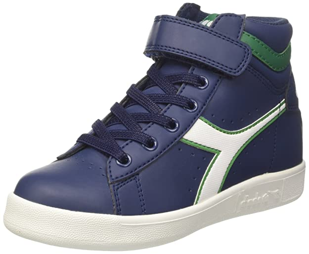 Diadora Jungen Game P High Jr Hohe Sneaker, Elfenbein (WHT/Estate Blue/Poinsettia), 33 EU