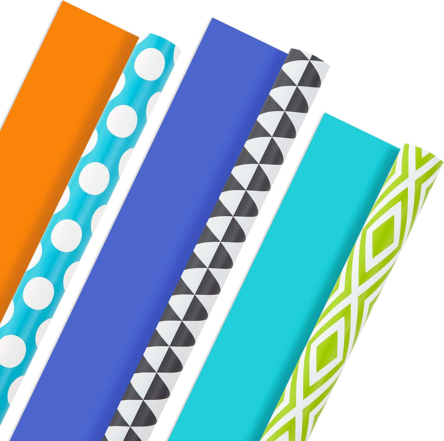 Hallmark All Occasion Reversible Wrapping Paper Bundle - Solids & Dots, Diamonds, Triangles (3 Rolls; 75 sq. ft. ttl) Yellow, Orange, Blue, Black and White