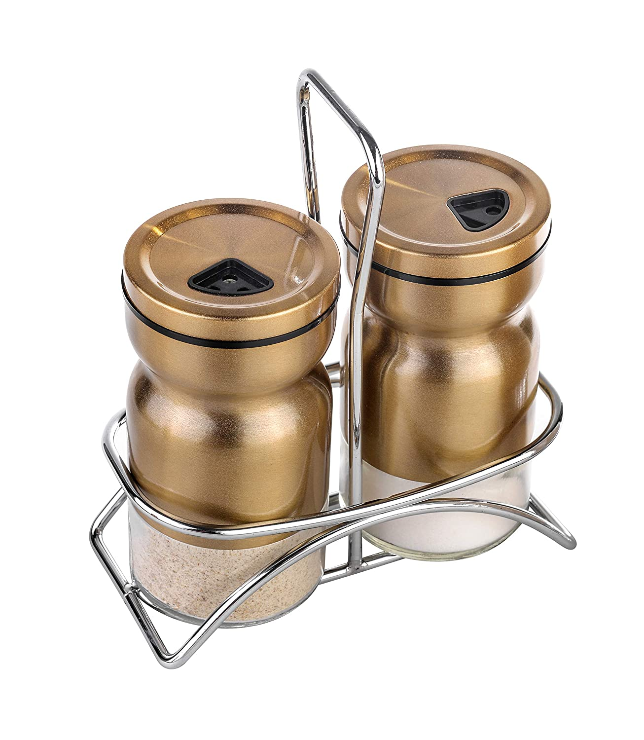 Salt and pepper shakers-Elegant salt and pepper shaker with lid-Adjustable pour hole Stainless Steel salt and pepper shaker