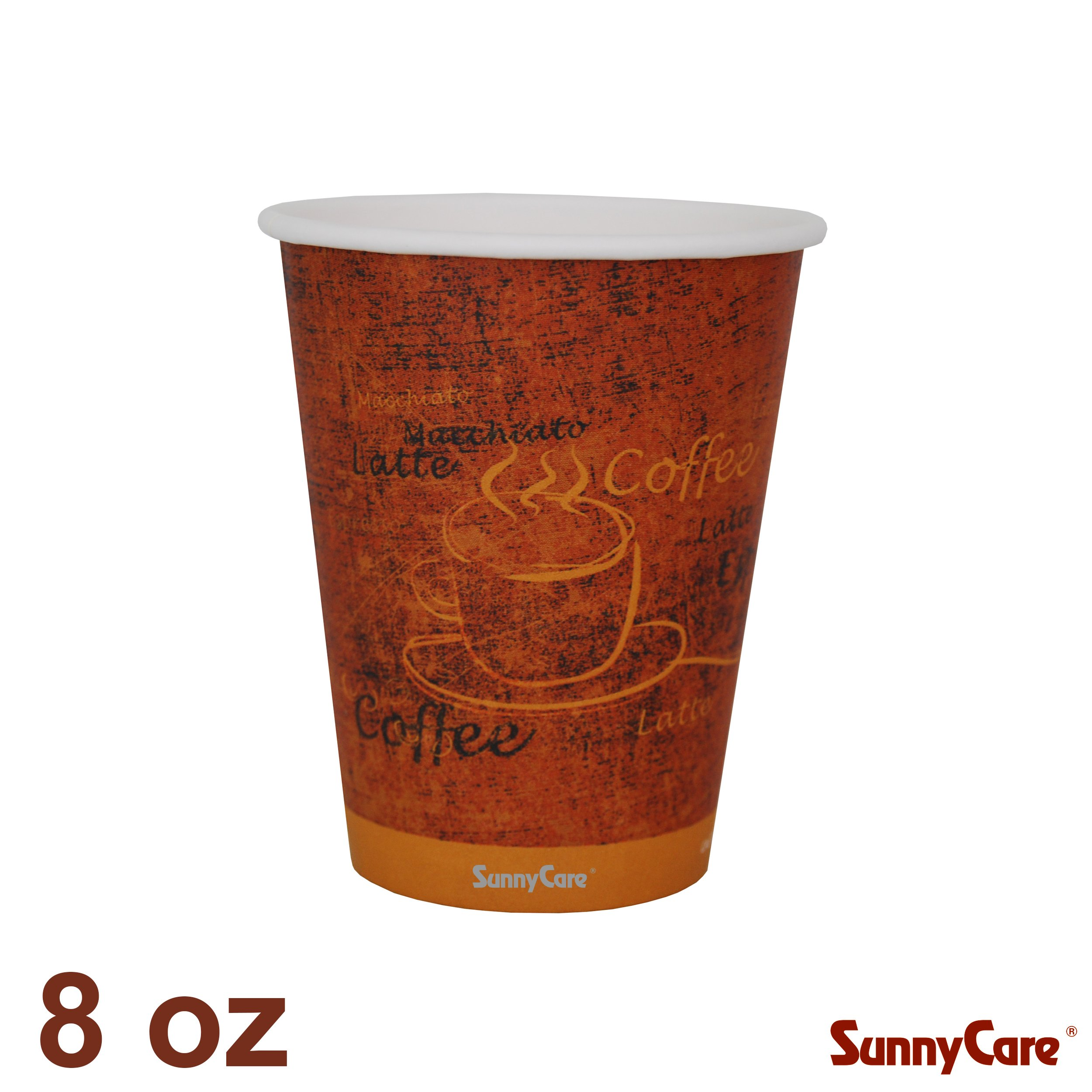 Disposable 8-oz Single Hot Coffee Paper Cups (Case of 1000) by SunnyCare