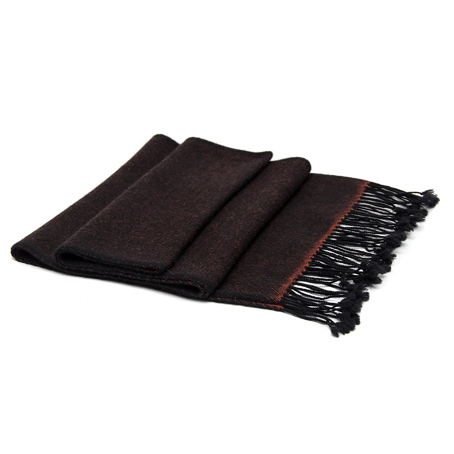 100% Reversible Cashmere Scarf with Tassel, 26/2 Mongolian Yarn Composition, Hand-woven, Maroon & Black Moksha Cashmere