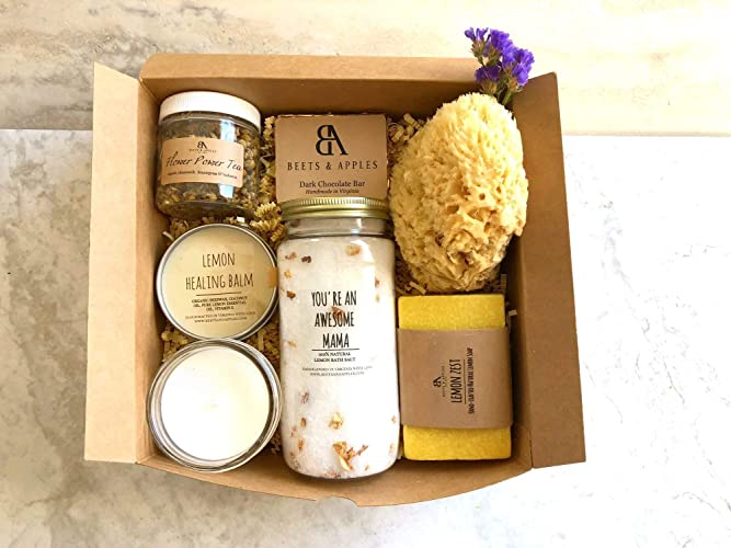 SHIP NEXT DAY Mom Birthday Gifts Spa Gift Basket Soap Premium Lemon Bath Body Set By Beets Apples Arrive Within 1 3 Business Days
