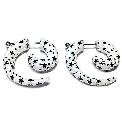 Cameleon-Shop-Pendientes de falsos Plug-Dilatador acrílico y acero inoxidable, diseño de espiral, color blanco, negro, 6 mm, diseño de estrellas: Amazon.es: ...
