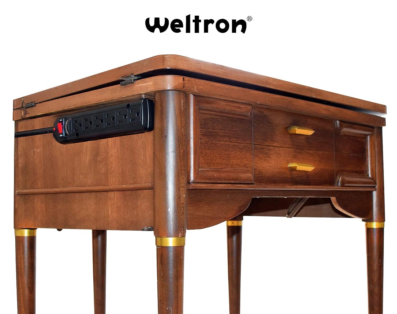 Weltron Mountable Surge Protector 6 ft. WSP-600PLF-6BK