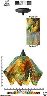 product image for Jezebel Signature Flame Pendant Large. Hardware: Black. Glass: Daylily