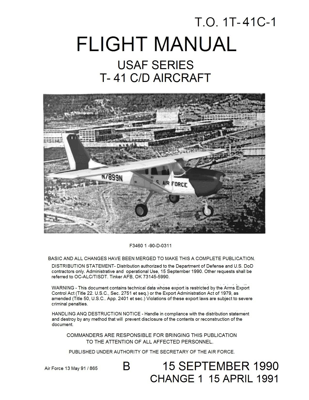 Download T-41 C D Flight Manual Pilot's Operating Handbook Cessna T-41 Mescalero with Normal and Emergency Procedures, add't Specs. [ReImaged from original for Clarity. Loose Leaf Facsimile Edition.] pdf