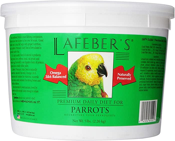 LAFEBER'S Premium Daily Diet Pellets Pet Bird Food, Made with Non-GMO and Human-Grade Ingredients, for Parrots