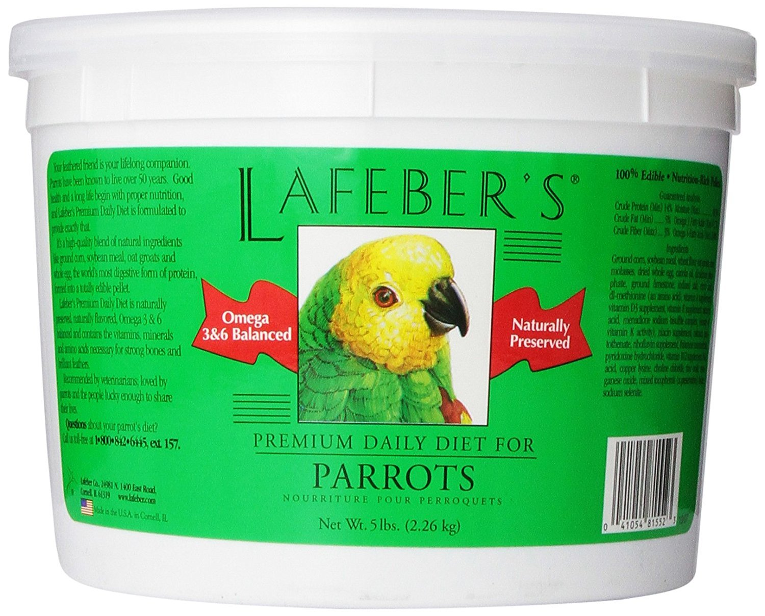 LAFEBER'S Premium Daily Diet Pellets Pet Bird Food, Made with Non-GMO and Human-Grade Ingredients, for Parrots, 5 lbs by LAFEBER'S
