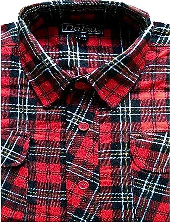 Dalsa – Camiseta de leñador para trabajar, franela a cuadros, manga larga, algodón cepillado