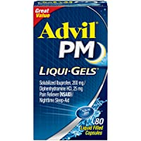 Advil PM Liqui-Gels (80 Count) Pain Reliever/Nighttime Sleep Aid Liquid Filled Capsules...