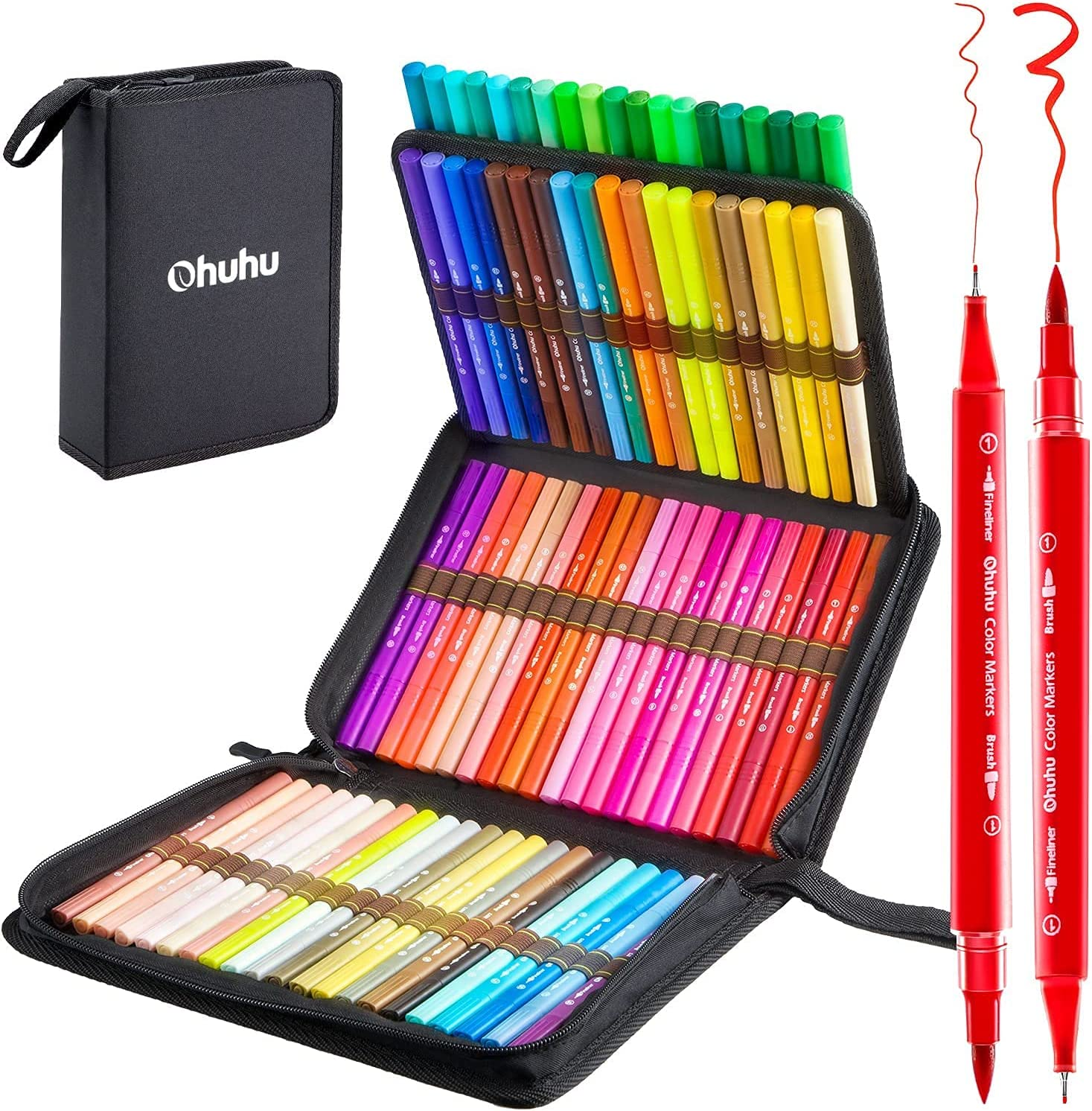 80 Colors Dual Tip Brush Markers Pens Set Art Paint Highlighter Watercolor ink