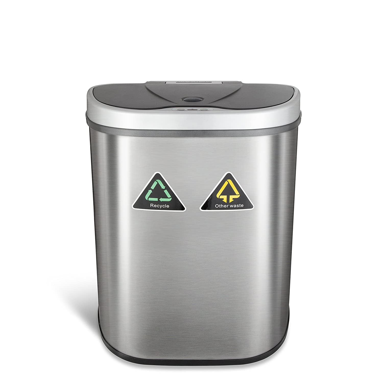 ninestars dzt7011r the original touchless automatic motion sensor trash canrecycler 185 gal 70 l stainless steel