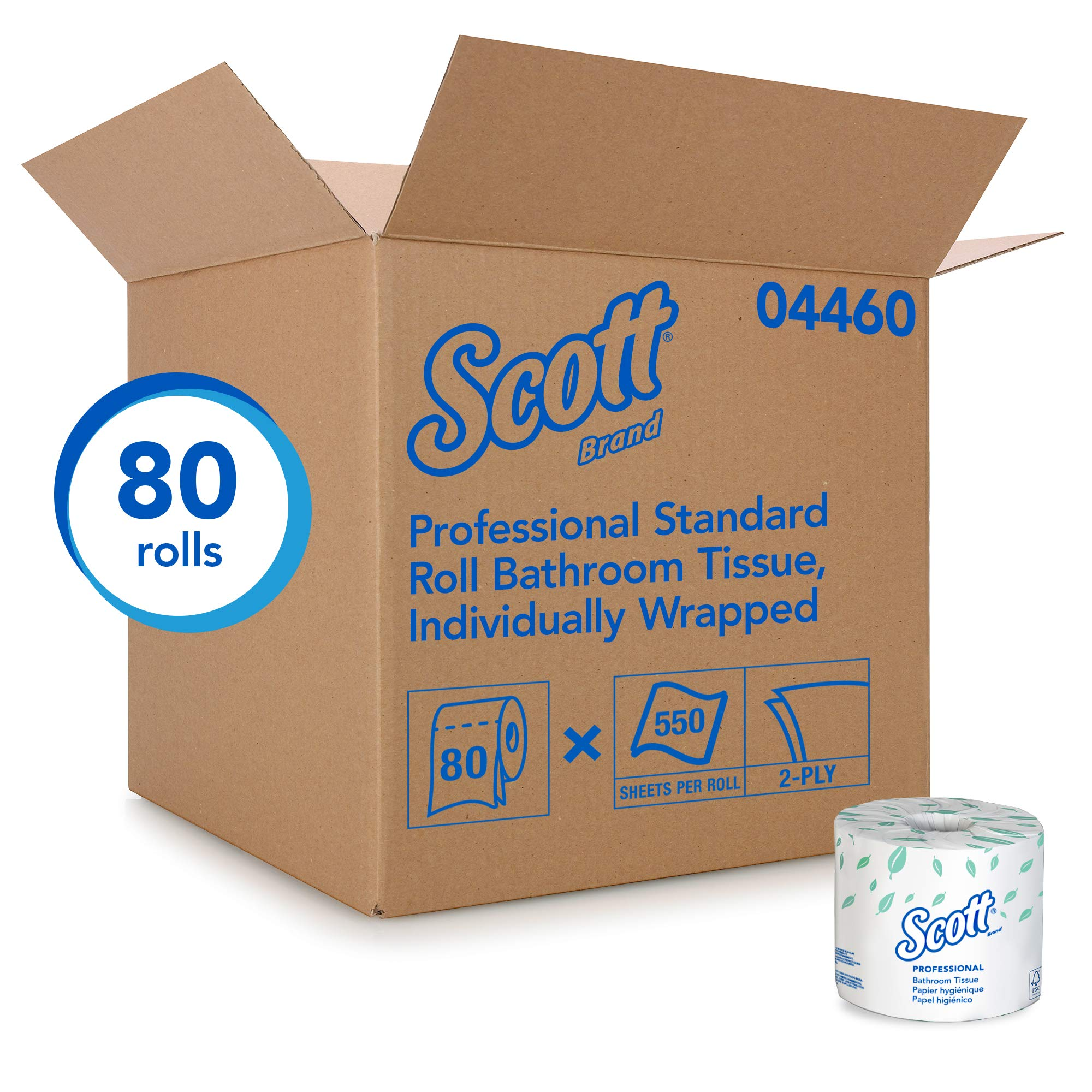 Scott Essential Professional Bulk Toilet Paper for Business (04460), Individually Wrapped Standard Rolls, 2-PLY, White, 80 Rolls / Case, 550 Sheets / Roll by Kimberly-Clark Professional