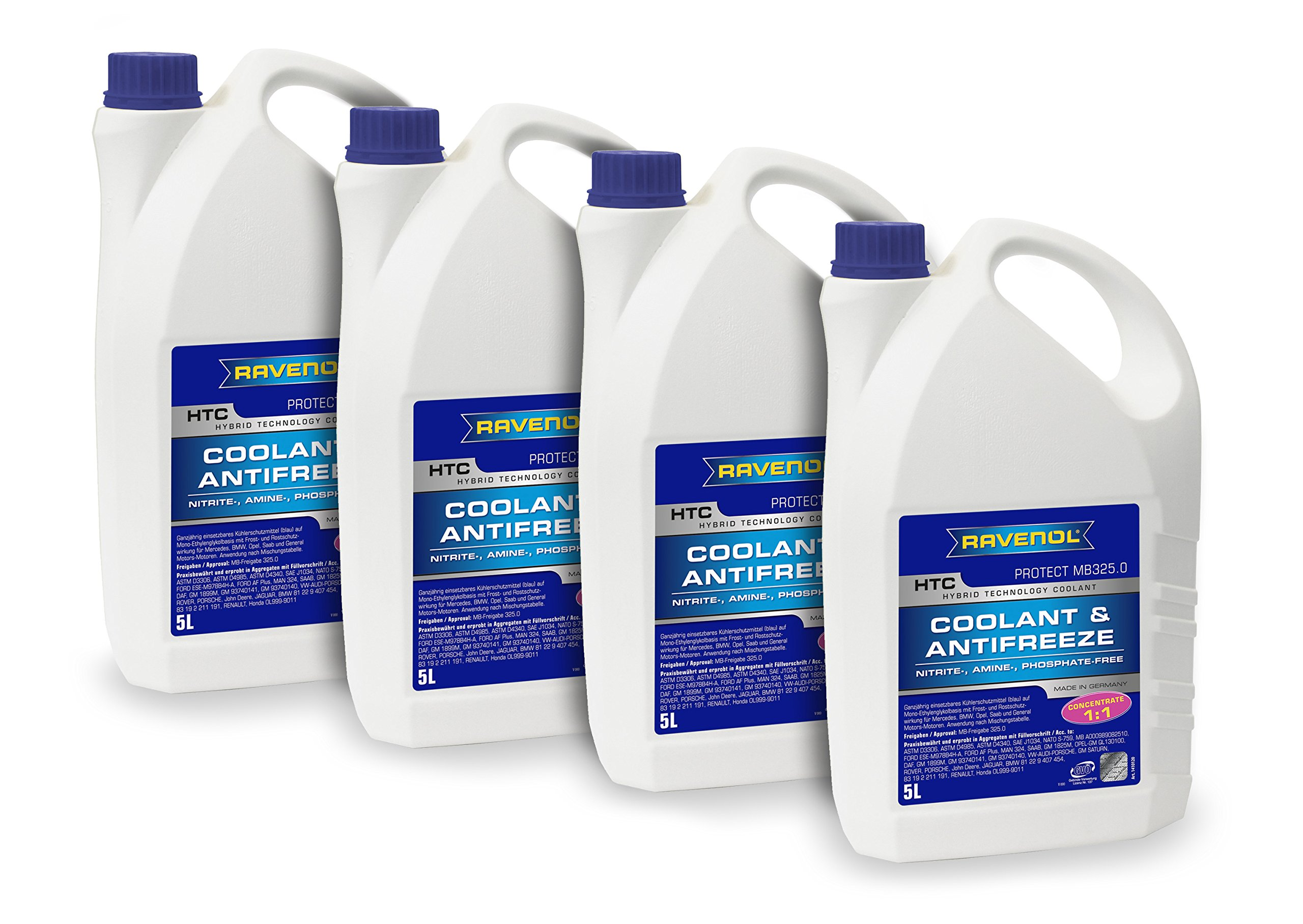 RAVENOL J4D2023-04 Coolant Antifreeze - HTC Concentrate MB 325.0, VW TL 774-C (G11) (5L, Case of 4) by Ravenol