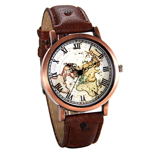 Amazon.com: JewelryWe Mens Women\'s World Map Pattern Wrist Watch ...