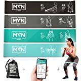 MVN Resistance Bands Set Exercises Guide Printed on Loop Bands to Tone Legs Butt Core and Arms Pilates Yoga Fitness Physical Therapy Rehabilitation