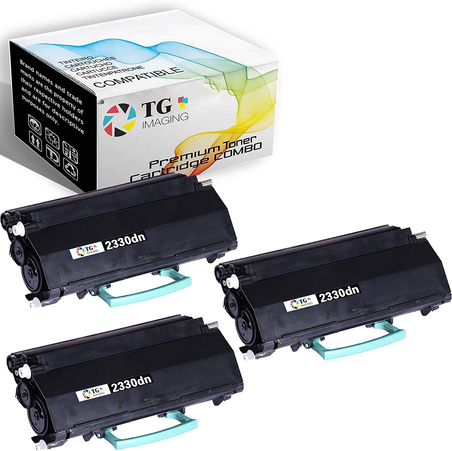 3-Pack Compatible Dell 2330dn Toner Cartridge 2350dn (TG Imaging) Used for Dell 2330dn 2350dn Printers (PK941 330-2650 2330)