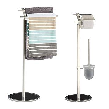 Badezimmer Set Ohne Bohren, Handtuchhalter Freistehend,  Toilettenpapierhalter Edelstahl, Klobürstenhalter Glas