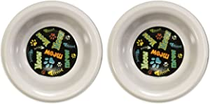 Black Duck Brand Pet Bowl Melamine 2cat/2dog 7in Dog Bowl/5.5in Cat-4ast Dsgn
