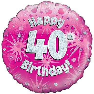 Oaktree 18 pulgadas Globo de Happy 40th cumpleaños rosa ...