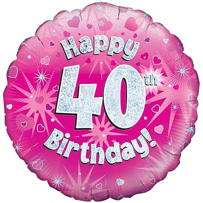 Oaktree Palloncino Rosa Di Buon Compleanno Per I 40 Anni Taglia