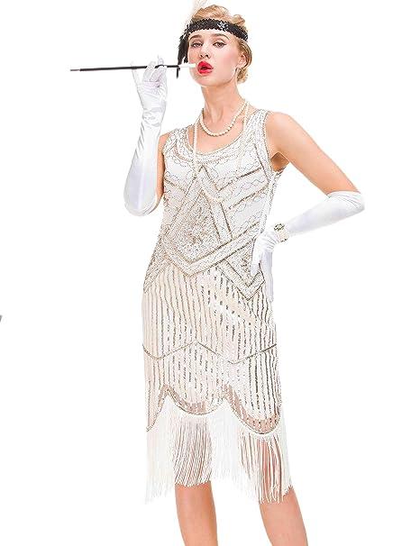 Vestido Vintage de Mujer de los años 20 - Vestido con Flecos Great Gatsby (Blanco