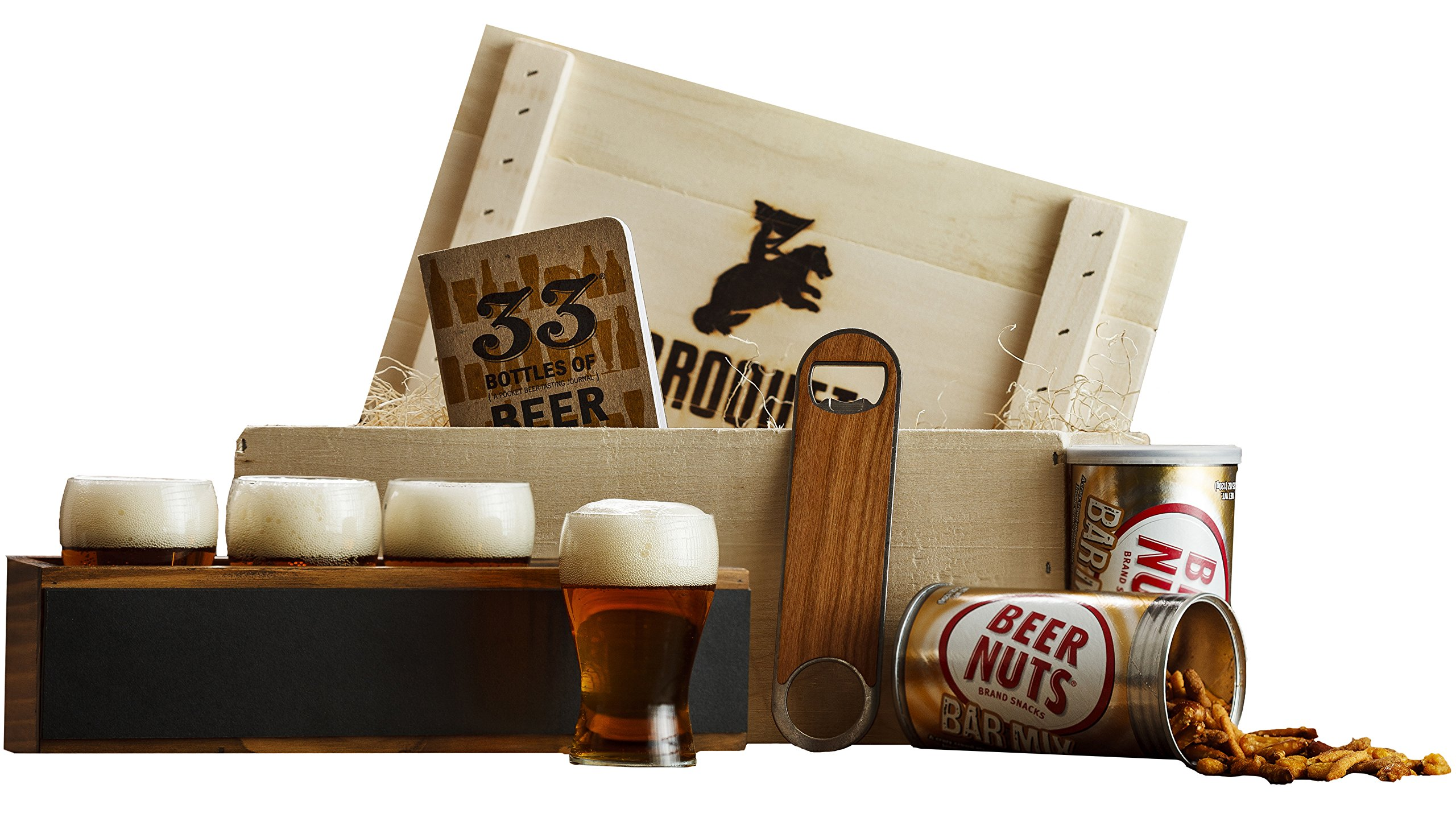 Ultimate Craft Beer Tasting Kit Gift - (9 Piece Drink Set) - Comes in a Wooden Gift Crate - Craft Beer Flight Sampler - Great Gift For Men