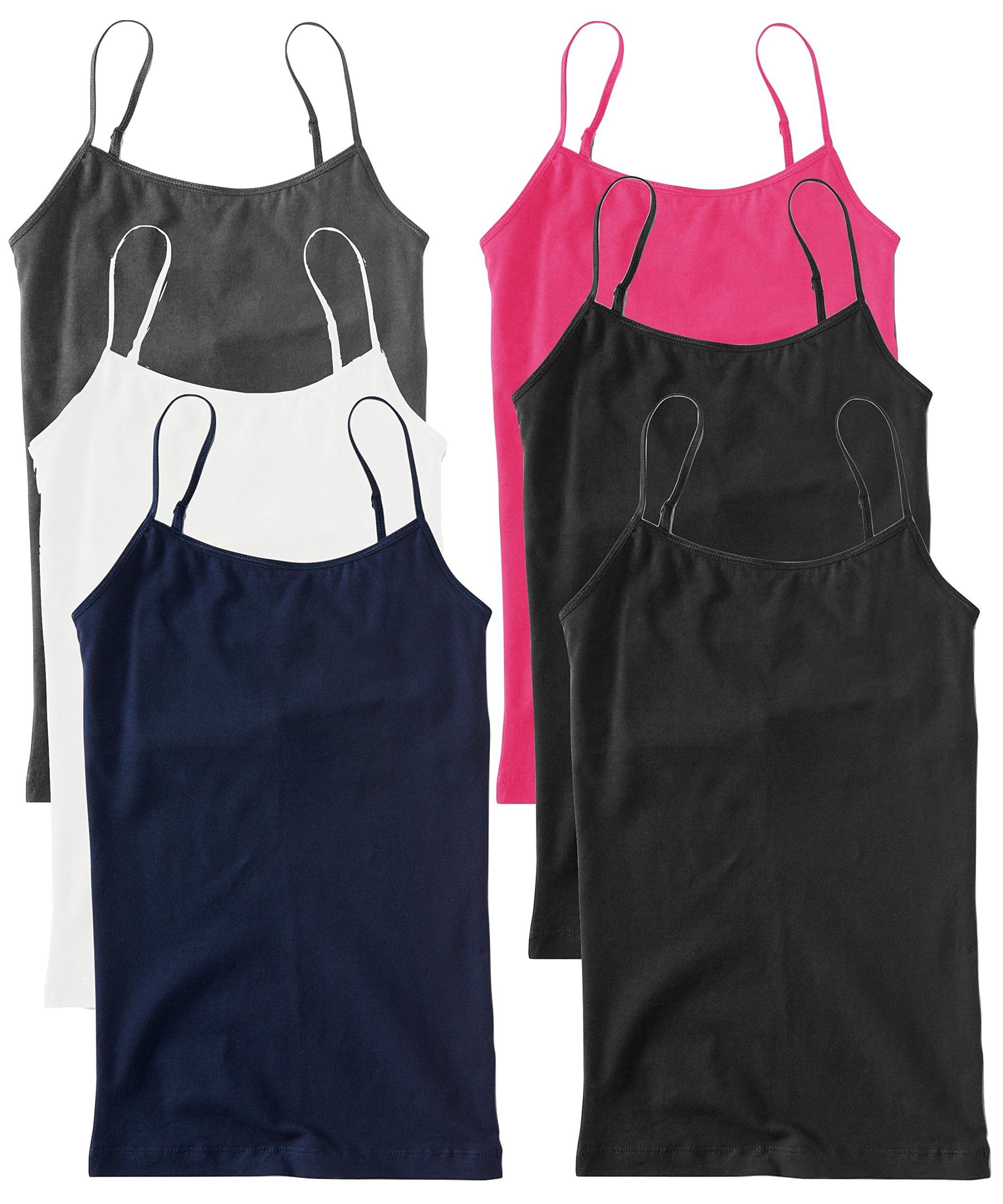 Unique Styles 6 Pack Plus Size Basic Layering Camisole Tank Tops for Women (1X, 2 Black, White, Grey, Pink, Navy)