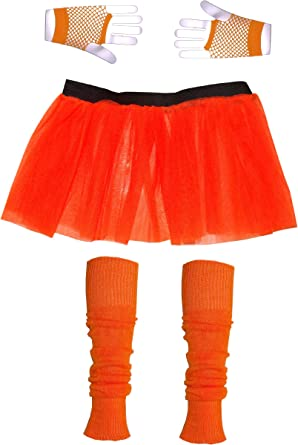 Dance School Neon 3 Layer Tutu Skirt Fishnet Gloves Legwarmers Beads Bangle