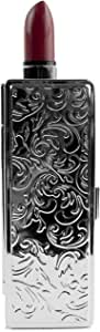 Boxed Travel Lipstick Case With Mirror (Silver Victorian Print)