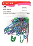Singer Metallic-Coated Safety Pins, Assorted Colors and Sizes, 35-Count