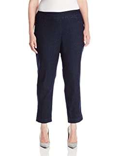 be588242080 SLIM-SATION Women s Plus-Size Wide Band Pull On Ankle Pant with Tummy  Control