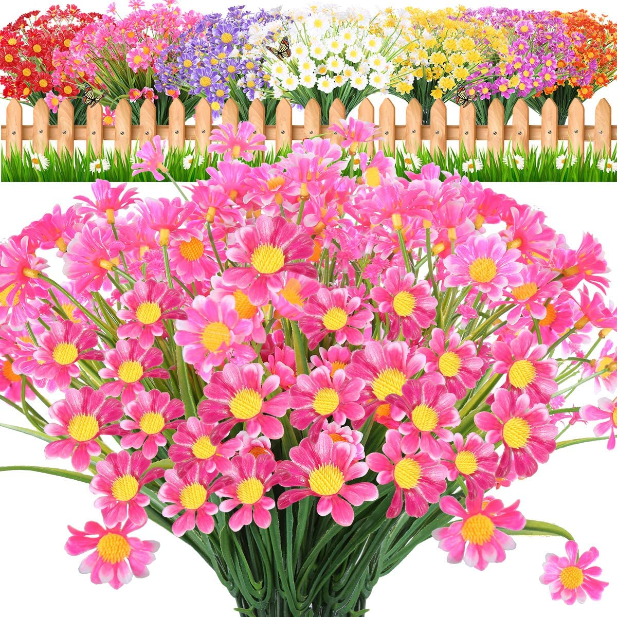 JEMONG 10 Bundles Artificial Daisies Flowers UV Resistant Shrubs,No Fade Faux Flowers for Indoor Outside Hanging Plants Garden Porch Window Box Décor (Pink)