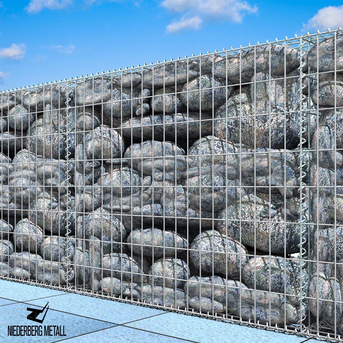 NIEDERBERG METALL Gavión 100x80x30cm Gaviones metálico para Piedras M5x10 Jaula Cesta de Alambre
