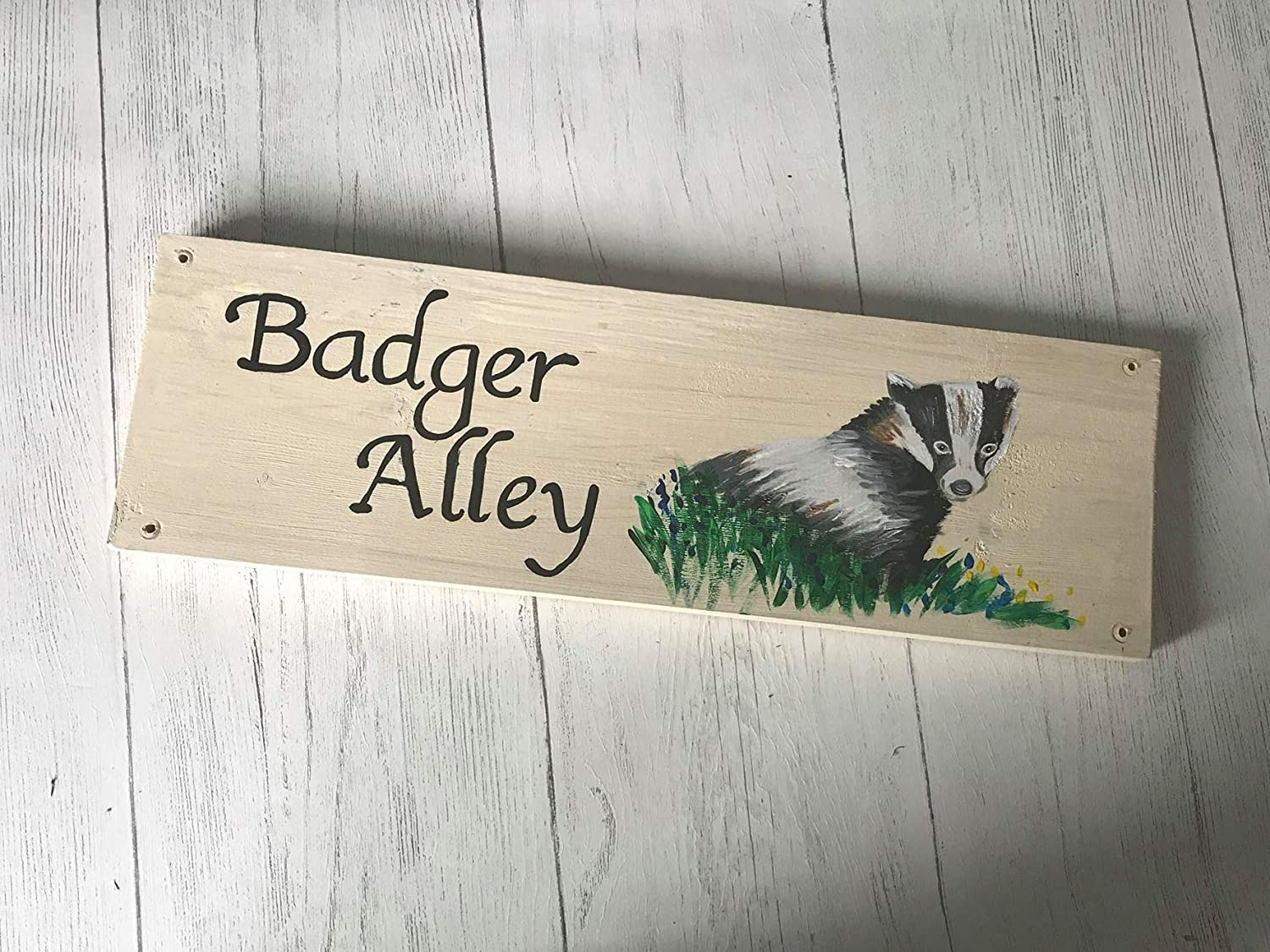 Advertising Plaque Outside Country Garden Garden Sign Farm Sign Cottage Sign Personalised Exterior Badger Wooden House Name Sign Wildlife Rustic, Business Sign Barn Sign Wall