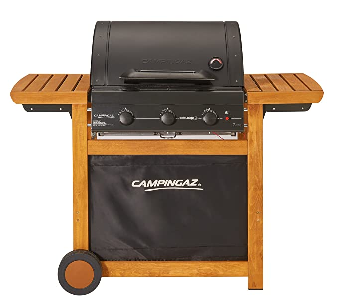 Campingaz Barbacoa de gas Adelaide 3 Woody L, con ruedas y 3 quemadores de hierro fundido, tapa, termómetro, bandejas laterales.: Amazon.es: Jardín