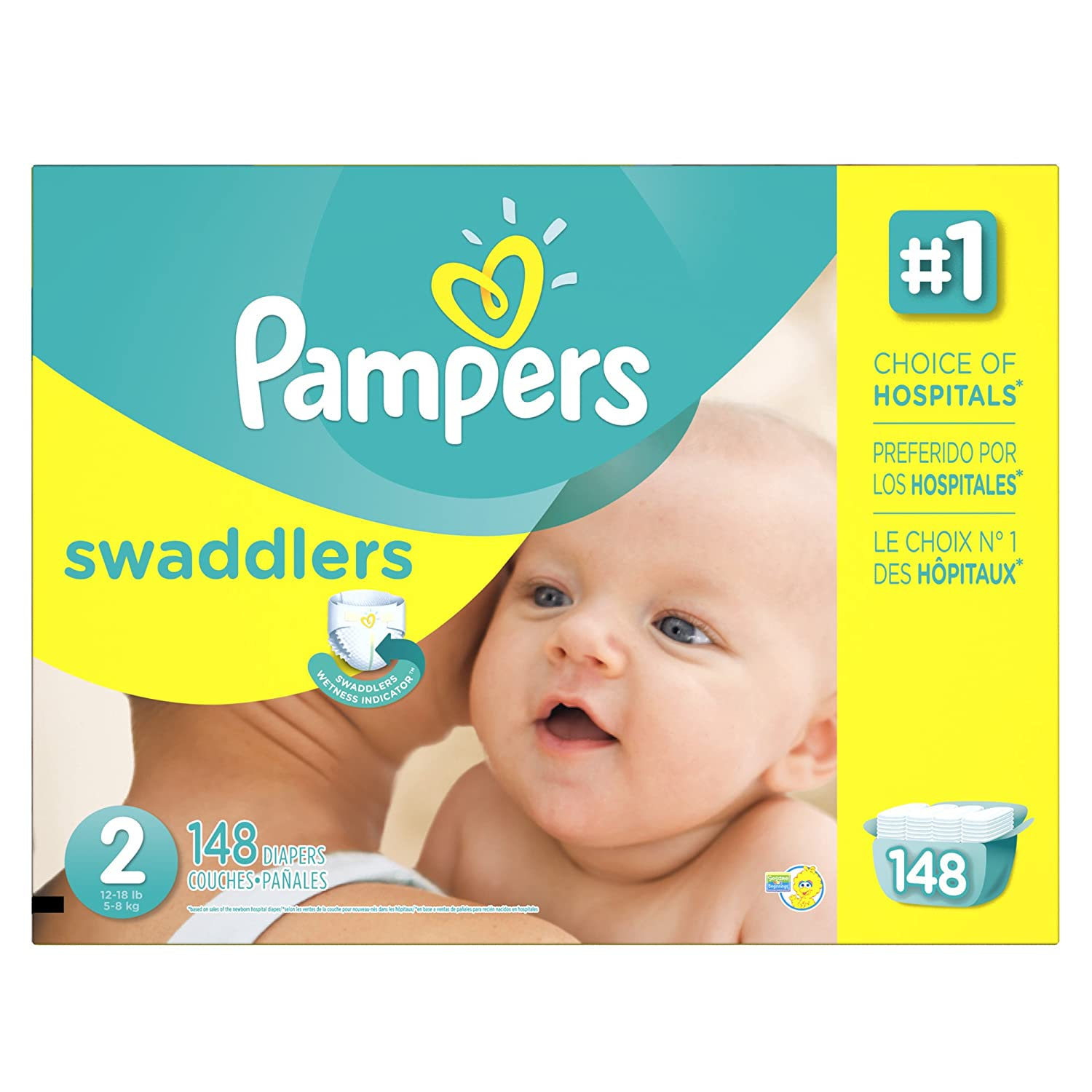 Pampers Swaddlers Disposable Diapers Size 2, 148 Count, ECONOMY SYNCHKG051588