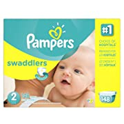 Pampers Swaddlers Disposable Diapers Size 2, 148 Count, ECONOMY