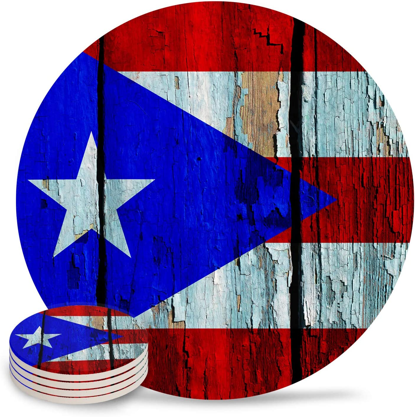 Set of 4 Coasters for Drinks, Absorbing Stone Puerto Rico Flag Ceramic Round Coaster with Cork Base No Holder, for Housewarming Coffee Kitchen Room Bar Decor (4 Inch)