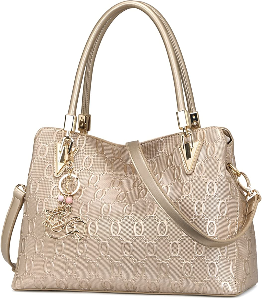 Genuine Leather Handbag for Women, Ladies Top-handle Tote Crossbody Shoulder Bag