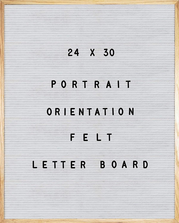 "White Felt Letter Board 24 X 30 Portrait Orientation with 1384 -Piece Set of Large 2"" and 1"" Plus 3/4"" Letters, Numbers, Symbols & Emojis, 36 Slot Organizer, Cutters, 2 Letter Pouches, Menu Board"