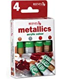 Reeves Metallics Acrylic Colours, 4 x 10 ml - Gold, Silver, Copper, Brilliant Red