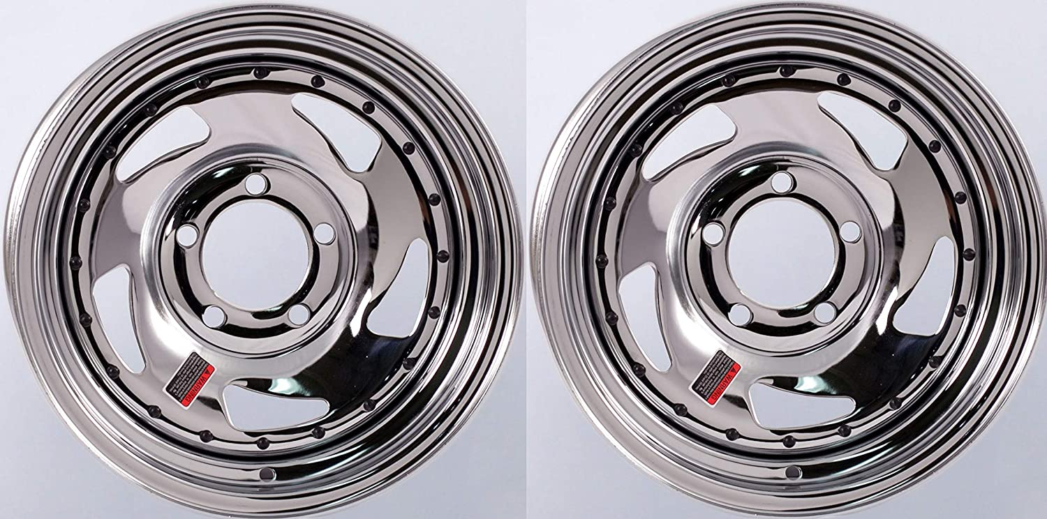 Directional Style 5 Lug On 4.5 2-Pack Trailer Wheel Chrome Rims 14 x 5.5 in