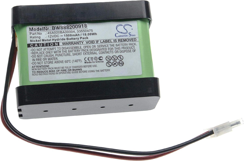 vhbw batería reemplaza Besam 33550475, 45A020BA00004 para órgano motor de puerta corredizas compuertas giratorias 1500mAh (12V) NiMH